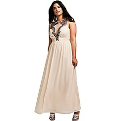 Little Mistress - Curvy cream chiffon mesh insert maxi dress