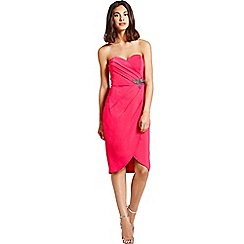 Little Mistress - Pink wrap over bandeau dress