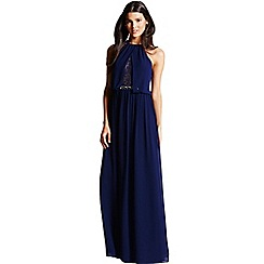 Little Mistress - Navy chiffon lace insert maxi Dress