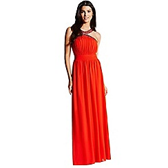 Little Mistress - Orange embellished chiffon maxi dress
