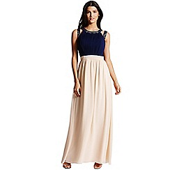 Little Mistress - Navy and nude chiffon maxi dress
