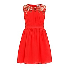 Little Misdress - Orange chiffon embellished dress