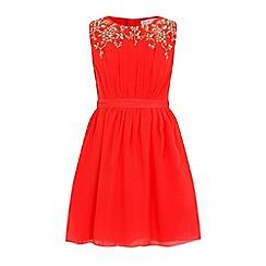 Little Misdress - Orange chiffon embellished dress