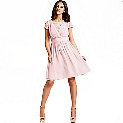 Laced In Love - Dusty pink lace fit and flare dress