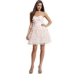 Little Mistress - Nude floral applique mini prom dress