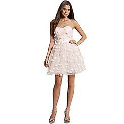 Little Mistress - Nude floral applique mini prom dress