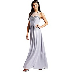 Little Mistress - Grey embellished mesh maxi dress