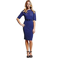 Paper Dolls - Navy textured stripe dress