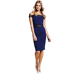 Paper Dolls - Blue Off The Shoulder Lace Trim Dress