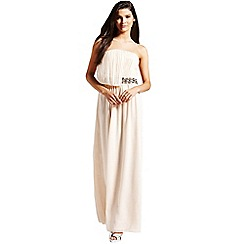 Little Mistress - Nude embellished drape maxi dress