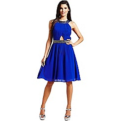 Little Mistress - Blue embellished cut out dress