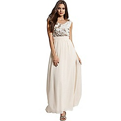 Little Mistress - Heavily embellished cream and gold maxi