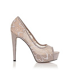 Little Mistress - Polly grey lace overlay stilletos