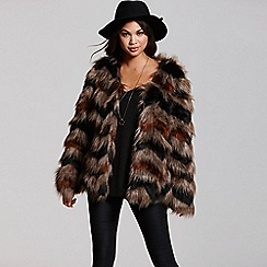 Little Mistress - Mink and black chevron faux fur coat