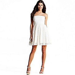 Laced In Love - Cream laced bandeau dress