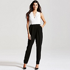 Laced In Love - Black and white lace jumpsuit