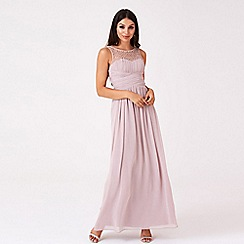 Little Mistress - Mink embellished neck maxi dress