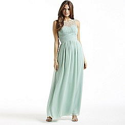 Little Mistress - Sage embellished neck maxi dress