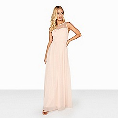 Little Mistress - Nude embellished top maxi dress