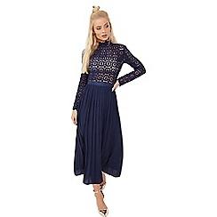 Little Mistress - Navy crochet lace midi dress with pleats