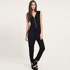 Girls On Film - Black zip up jumpsuit