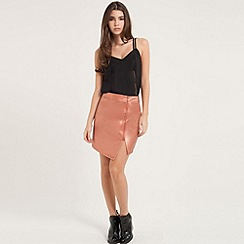 Girls On Film - Metallic zip detail asymmetric mini skirt in gold