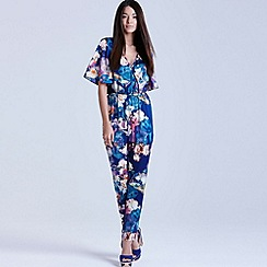 Girls On Film - Floral blur print jumpsuit