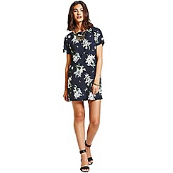 Girls On Film - Navy palm print tunic dress