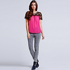 Girls On Film - Cherry pink lace shoulder top