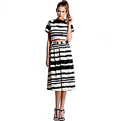 Girls On Film - Black and white striped paint stroke skirt