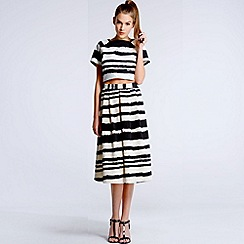 Girls On Film - Black and white striped paint stroke top