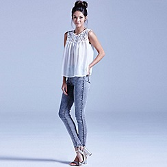 Girls On Film - White sleeveless lace chiffon top