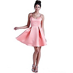 Girls On Film - Coral structured bow back prom dress