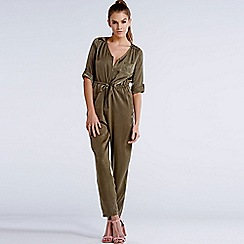 Girls On Film - Khaki 3/4 sleeve jumpsuit