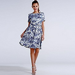Girls On Film - Blue and white geo mineral print 2 in 1 dress