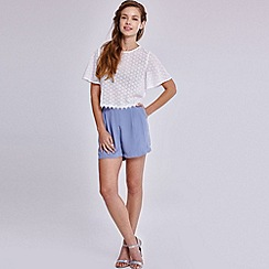 Girls On Film - Denim pleated high waisted shorts