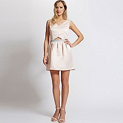Laced In Love - Nude satin cut out dress