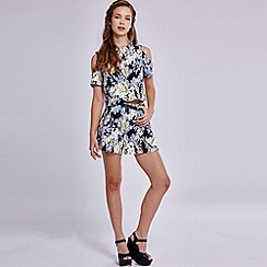 Girls On Film - Tropical print high waisted shorts