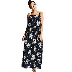 Girls On Film - Navy palm print maxi dress