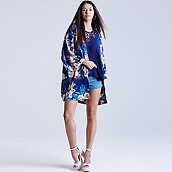 Girls On Film - Floral blur print kimono jacket