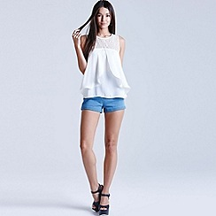 Girls On Film - Cream chiffon lace top