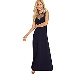 Little Mistress - Navy applique maxi dress