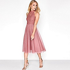 Little Mistress - Pink lace mesh prom dress