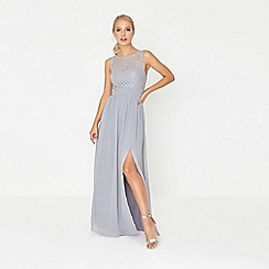 Little Mistress - Grey pearl and lace maxi dress