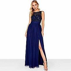 Little Mistress - Navy mesh maxi dress
