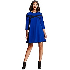 Girls On Film - Cobalt and black lace tunic dress
