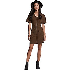 Girls On Film - Khaki zip up dress
