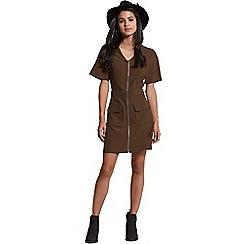 Girls On Film - Khaki zip up dress
