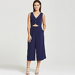 Little Mistress - By Chloe Lewis navy sleeveless cut out jumpsuit