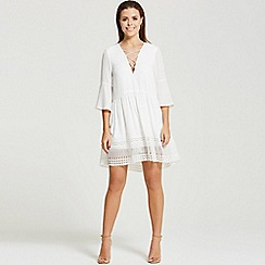 Little Mistress - By Chloe Lewis white hippy dress with crossed string chest detail